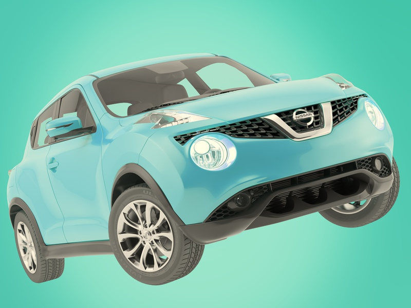 Blue Juke vray 3d cyan automotive juke nissan