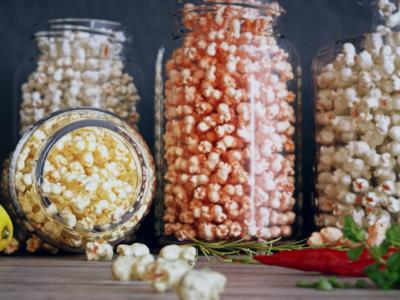 popcorn in jars