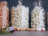popcorn in glass jars