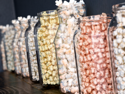 different popcorn in glass jars