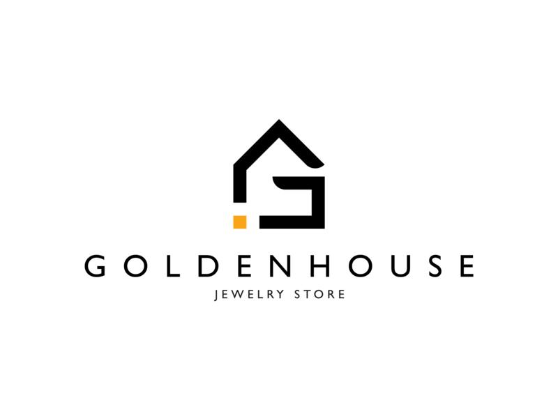 Golden House   Jewelry Store Logo Design jewelry store jewelry shop jewelry logo monogram logo branding minimalist vector logotype logodesign logo graphic  design flat design brand