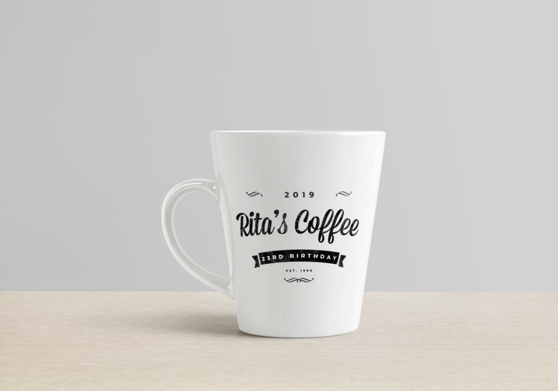 Rita's Coffee gift birthday coffee logo coffee coffee cup mug mug mockup vintage badge vintage logo illustration typogaphy branding logotype logodesign logo graphic  design design brand