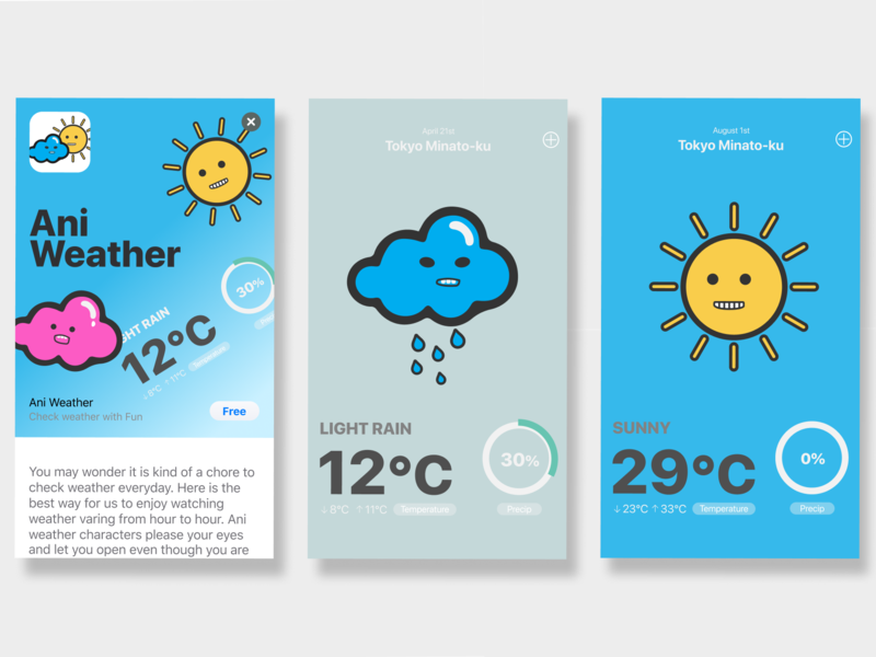 Animated Weather App weather app figma japanese