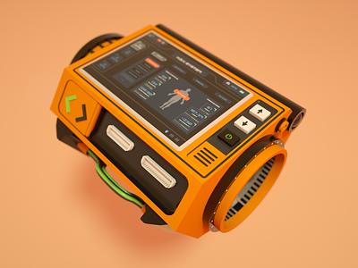 H.E.V. Device (Half-Life) octane cinema4d orange design ui 3d