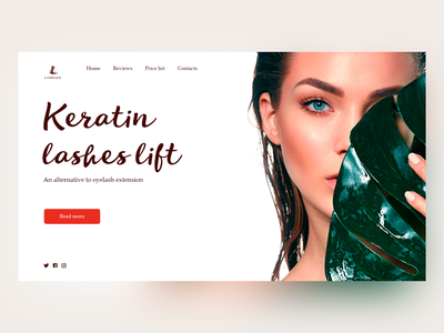Keratin Lashes Lift N2 beauty salon web ui minimal design creative design concept color