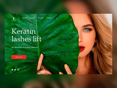 Keratin Lashes Lift N3 beautiful beauty salon web ui minimal design creative design concept color