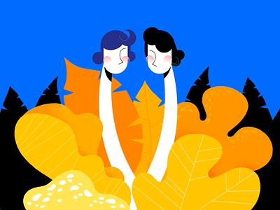 Coronavirus yellow blue woman flowers design girl illustration