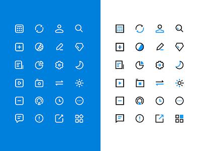 Round and sharp sharp round blue ui app design icon