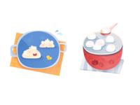 cute dumpling and rice ball