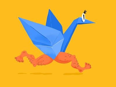 Oh! Man! blue yellow illustration bird man