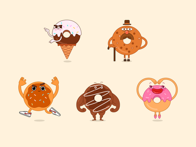 Donuts Family family food brown pink donuts illustration