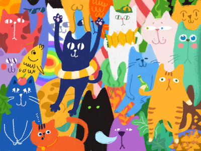 Cats colorful illustration cat