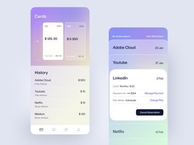 Subscription Manager App minimal ux ui fintech trending design money finance flat app mobile ui  ux