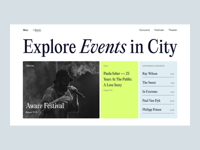 Website Design for Exploring Events interface events web clean minimal web design website flat ux ui
