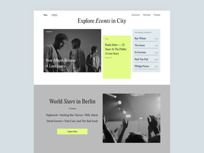 Homepage for Events Website homepage clean events web design ux ui minimal flat interface web website