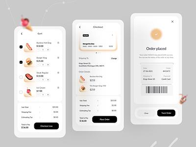 Food Delivery App ecommerce food user experience user interface order placed checkout cart design minimal app design app designer mobile app interface ui design
