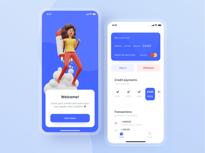 CreditFix app concept calendar cards ui profile white and blue clean ui loan app loan withdraw pay in transition splash screen fintech finance mastercard credit card payment credit design mobile