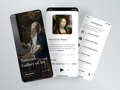 National Gallary of Art app gallery minimal vermeer onboarding tour article news tags audio player audio davinci museum of art art museum mobile
