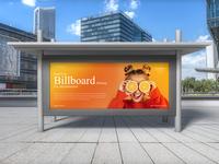 Road City Billboard Mockup Free