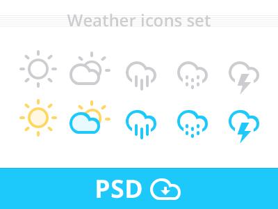 Weather Icons set psd team-interloop weather icons set psd source cloud icon freebie ui ux minimal