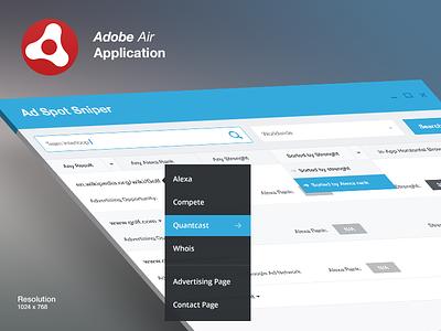 Adobe Air app ad spot sniper app adobe air adobe air application ui ux software team-interloop interloop