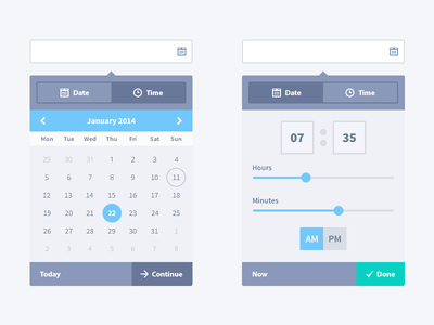 Data and time picker v2 date time picker date picker time picker ui ux sliders tabs buttons