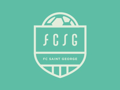 FCSG logo identity soccer seal crest badge illustration typography clean simple