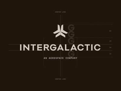 Intergalactic brand guidelines grid logo flux capacitor hyperspace outerspace snowflake star jet aircraft aerospace intergalactic logo brand