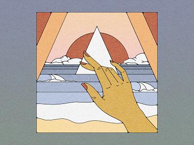 Portal :: 01 texture portal ocean sun hand illustration