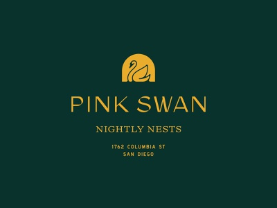 Pink Swan logo pink airbnb hotel branding san diego hospitality