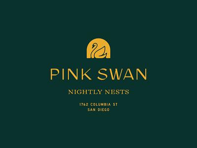 Pink Swan logo pink airbnb hotel branding san diego hospitality
