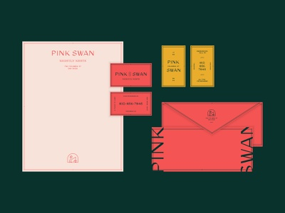 Pink Swan Stationery airbnb hotel envelope letterhead business card stationery print san diego swan pink