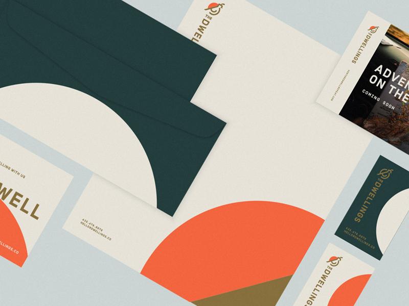 The Dwellings Brand business card letterhead stationery print sun desert tiny homes hotel quail utah zion bird