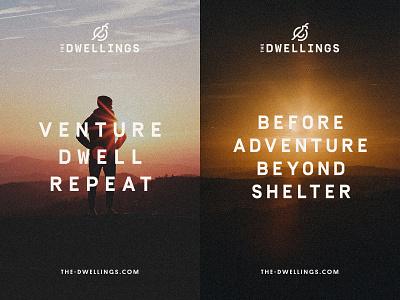 The Dwellings Brand utah tiny homes sun zion hotel poster advertisement desert bird quail