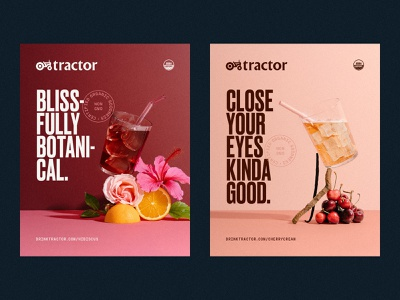 Tractor Beverage Co. Product Hero's beverages photography flowers fruit tractor posters print type design identity brand