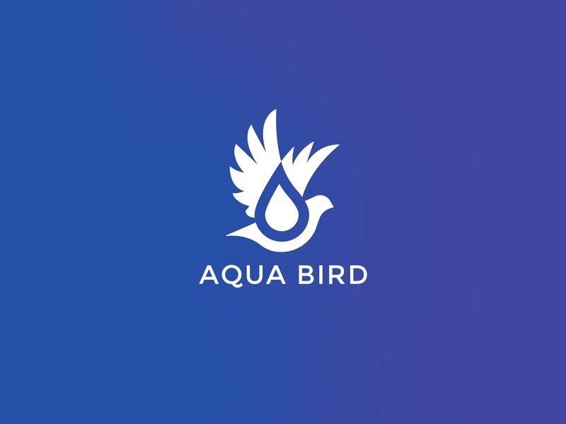 Aqua Bird Logo aqua bird flying bird bird water drop water