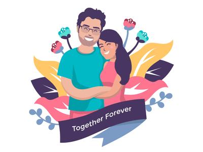 Couple Illustration flat design cartoon charecter design life partner love bae valentine personalized gift design illustartion couples