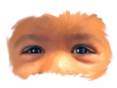 Innocent Eyes canvas oil painting baby eyes digital portrait portrait