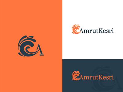 AmrutKesri Logo orange logo design a letter a wave oil symbol design vector branding simplified mark minimalistic logo minimal graphic  design brand and identity logo amrutkesri kesri amrut