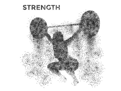 Dust simplified minimal design vector graphic  design ideal body exercise woman strong weightlifting force blackandwhite stippling strength fitness gym dust illustration