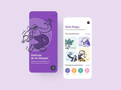 Hobbies app - UI Design design ideas app app ui design illustration hobbies ideas minimal design mobile app ui design app figma