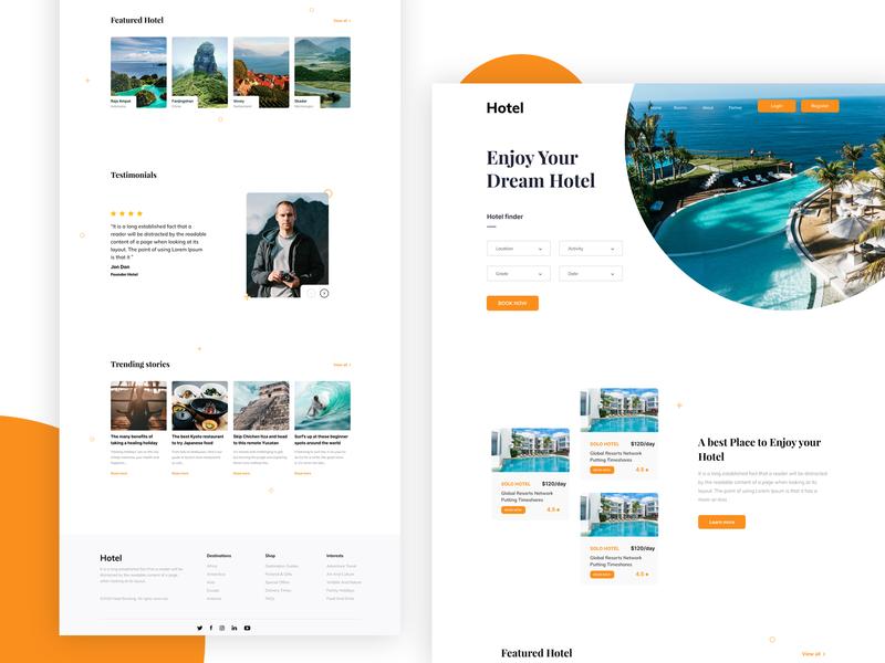 Hotel Booking - Landing Page branding figma website webdesign ux ui real estate hotels landingpage homepage design booking.com booking system booking