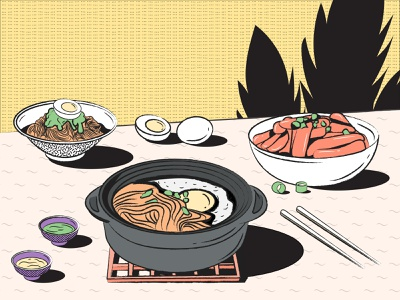 Hot Pot Meal asia asian food culture menu webpage banner design table foodwebsite food app noodles hotpot china dribbble food illustration egg illustration