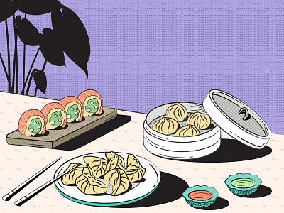 Momo and Sushi webdesign branding vector illustration design onboarding illustration banner design dumblings trendy design japanese culture foodillustration sushi roll