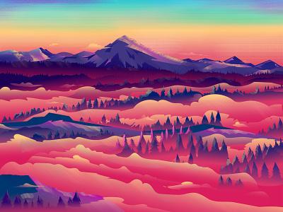 Foggy Sunrise nature illustration forest textures dribbble best shot ui dribbble digitalart illustration digital illustrations illustration design sunrise sunset drawing vector illustration