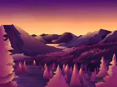 Purple Sunset forest gradient color texture brushes illustraiton landscape illustration dribbbleweeklywarmup dribbble inspration digitalart illustration