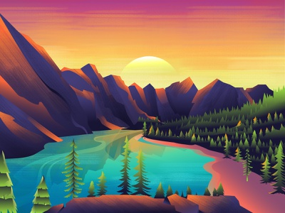 Among Trees landscape illustration banner web background design digitalart dribbble gradient color water mountains sun vector illustration landscape vector illustration