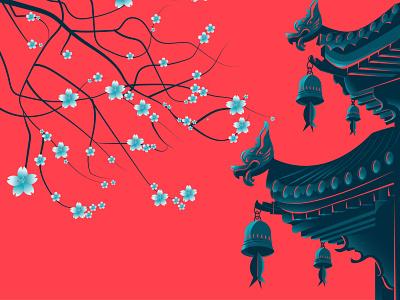 Japanese Temple design ancient culture temple cherryblossom artwork digital art illustration digital illustration design architechture japanese culture japan