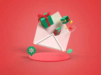 Mail and Christmas Presents candy candy cane 3dillustration 3d 3d art gift box present christmas card christmas dribbble design illustration