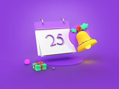 The Jingle Remainder holiday design gift box 2020 design calander alarms illustation illustration design trendy design 3dillustration 3d 3d animation 3d art christmas
